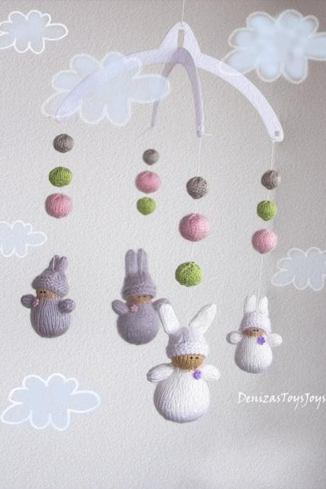 Waldorf Bunnies Mobile - pdf knitting pattern